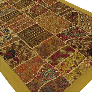 """Brown Embroidered Patchwork Tapestry Wall Hanging - 20 X 40"""""""