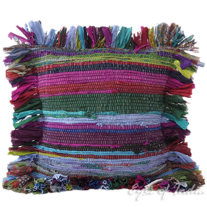 "12"" Purple Chindi Rag Rug Decorative Pillow Cushion Throw"