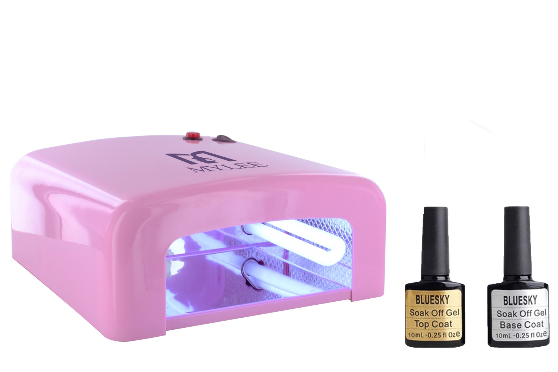 Gel Polish Nail Manicure Kit Bluesky Top Base Coat Mylee UV Lamp Dryer