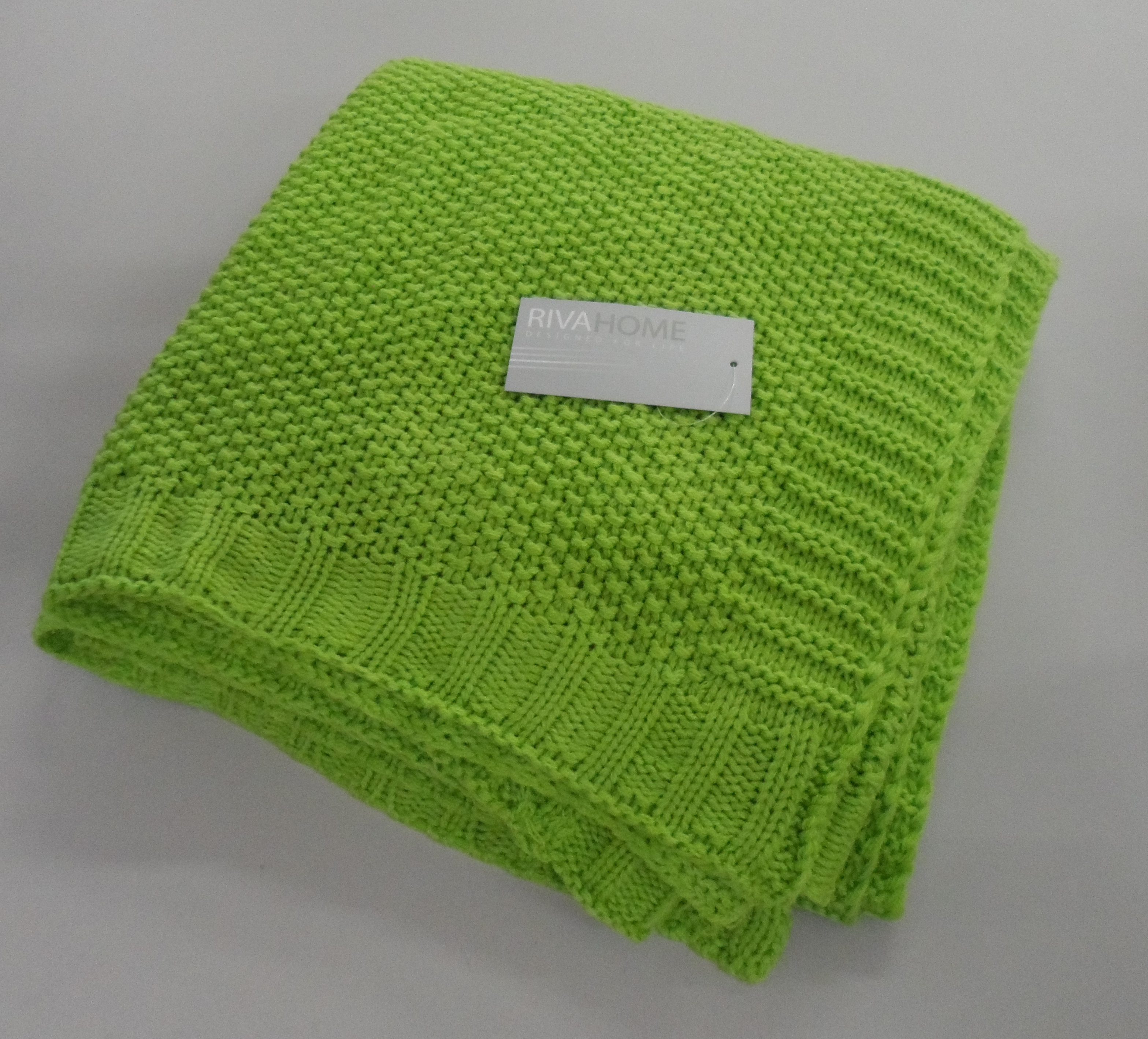 riva home knitted throw blanket 130 x 150 cm lime green new ebay. Black Bedroom Furniture Sets. Home Design Ideas