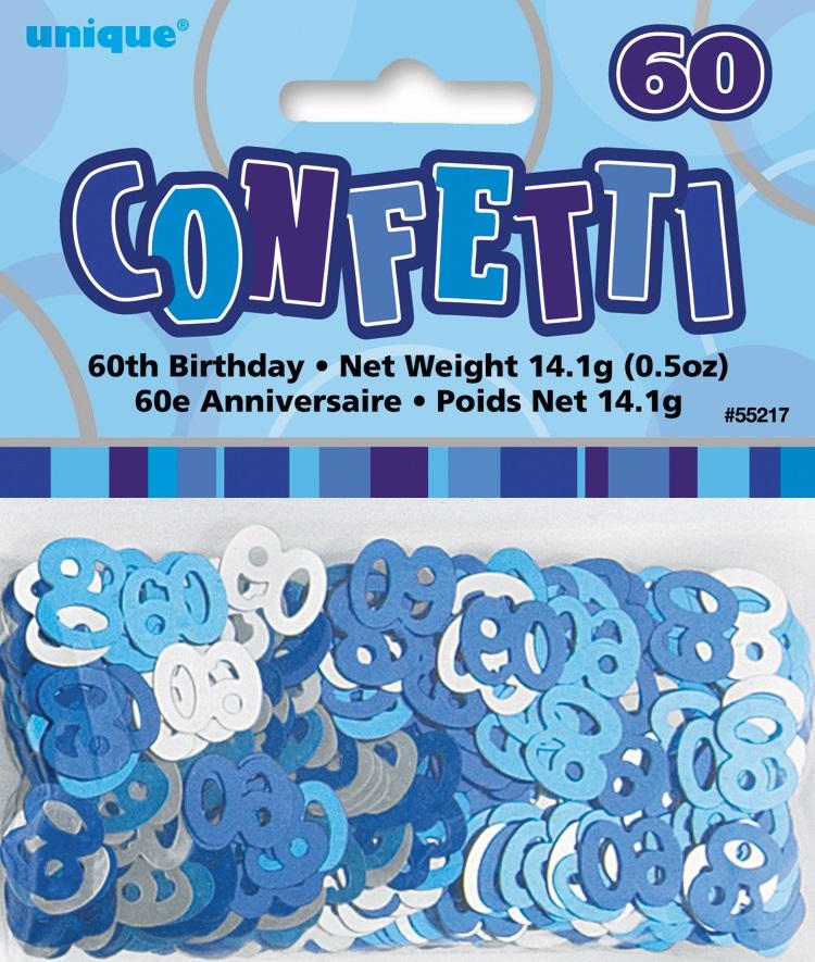 Blue glitz age 60 birthday table confetti 14 gram packet for 60 birthday decoration party