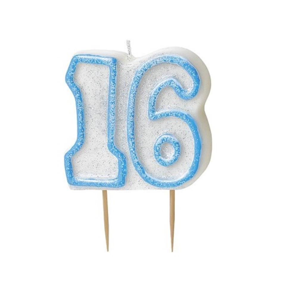 Blue Glitz Number 16 Candle 16th Birthday Cake Candles