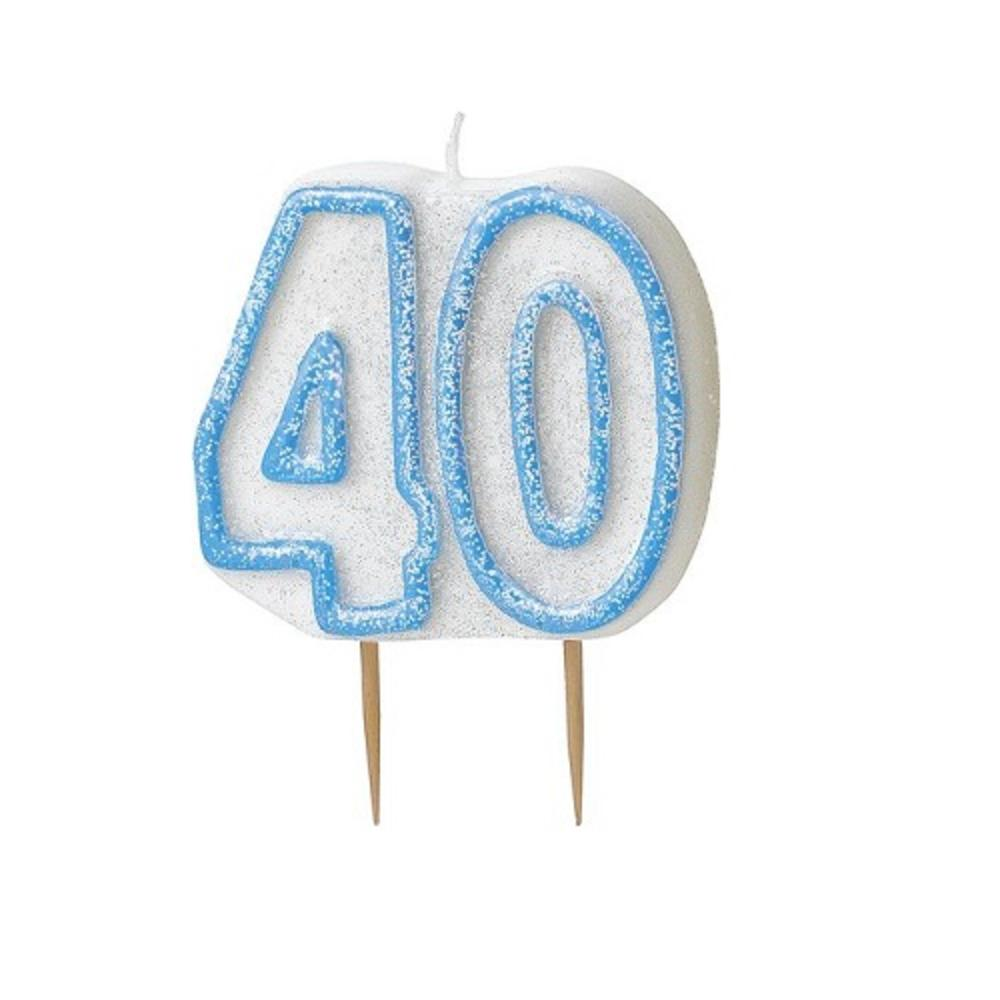 Blue Glitz Number 40 Candle 40th Birthday Cake Candles