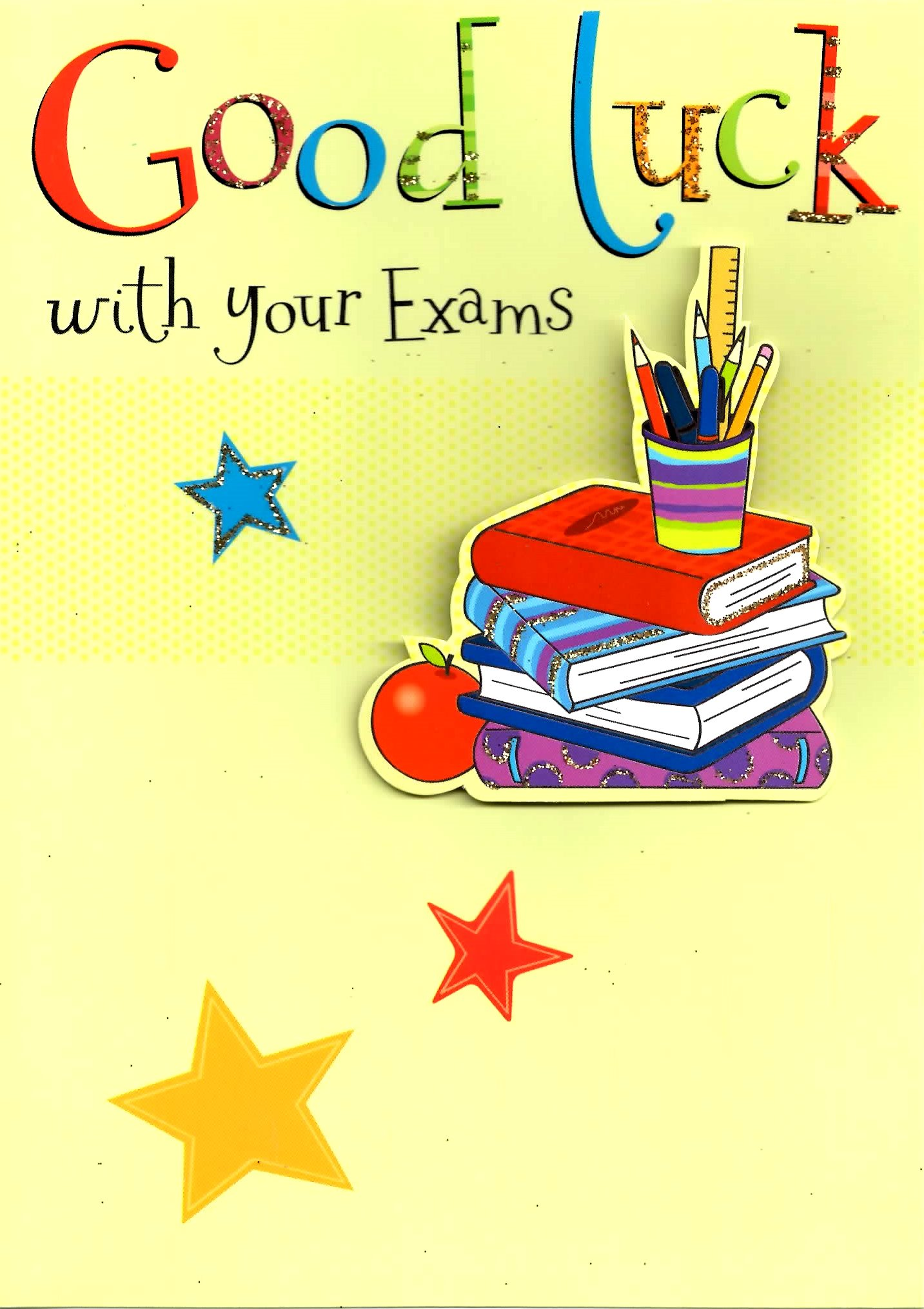 Good Luck With Your Exams Greeting Card 3D Flittered Glitter Lucky – Exam Best Wishes Cards