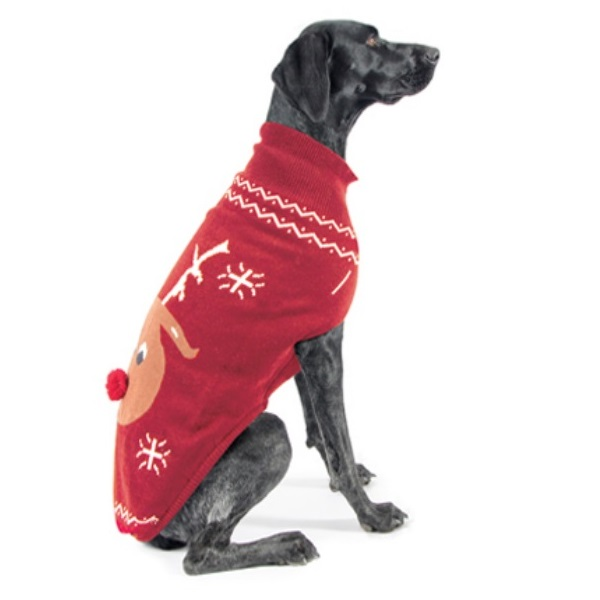 Knitting Pattern For Dog Christmas Jumper : Christmas Reindeer Jumpers For Dogs Knitted Red Dog ...