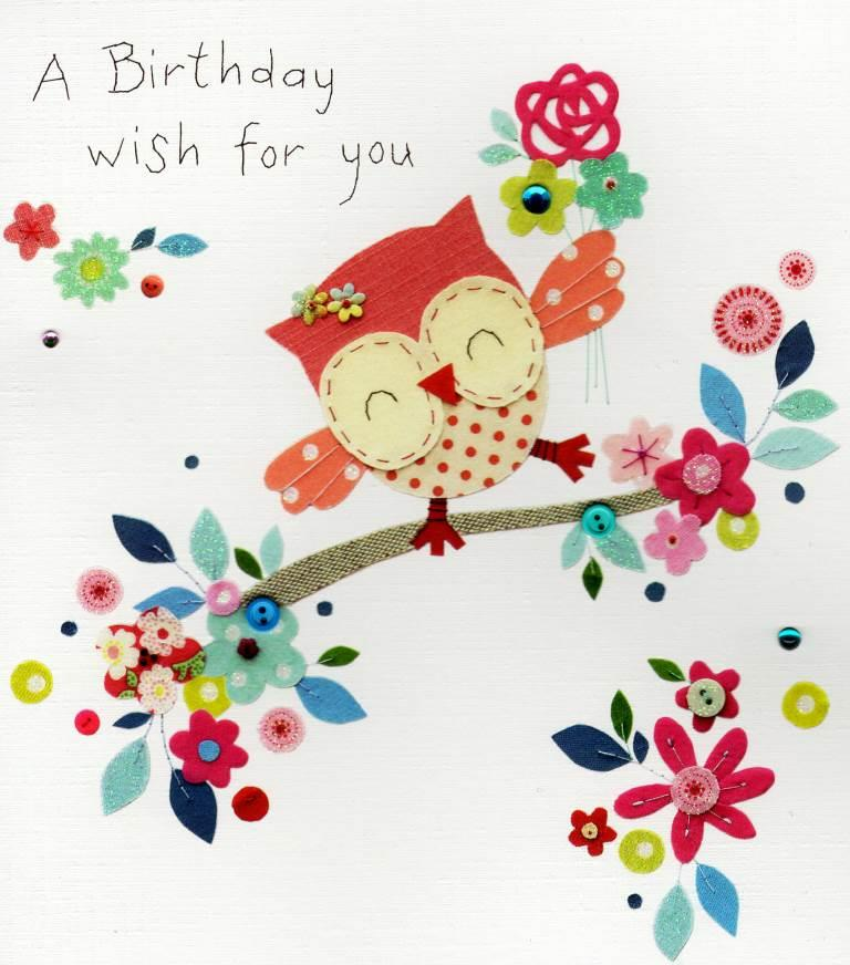 a birthday wish for you owl birthday greeting card  cards  love, Birthday card