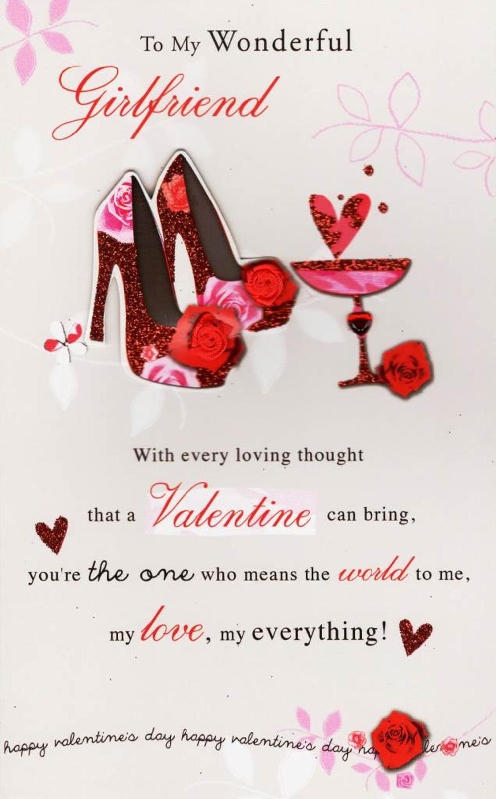 To my wonderful girlfriend valentine 39 s day card cards for What to put on a valentines card