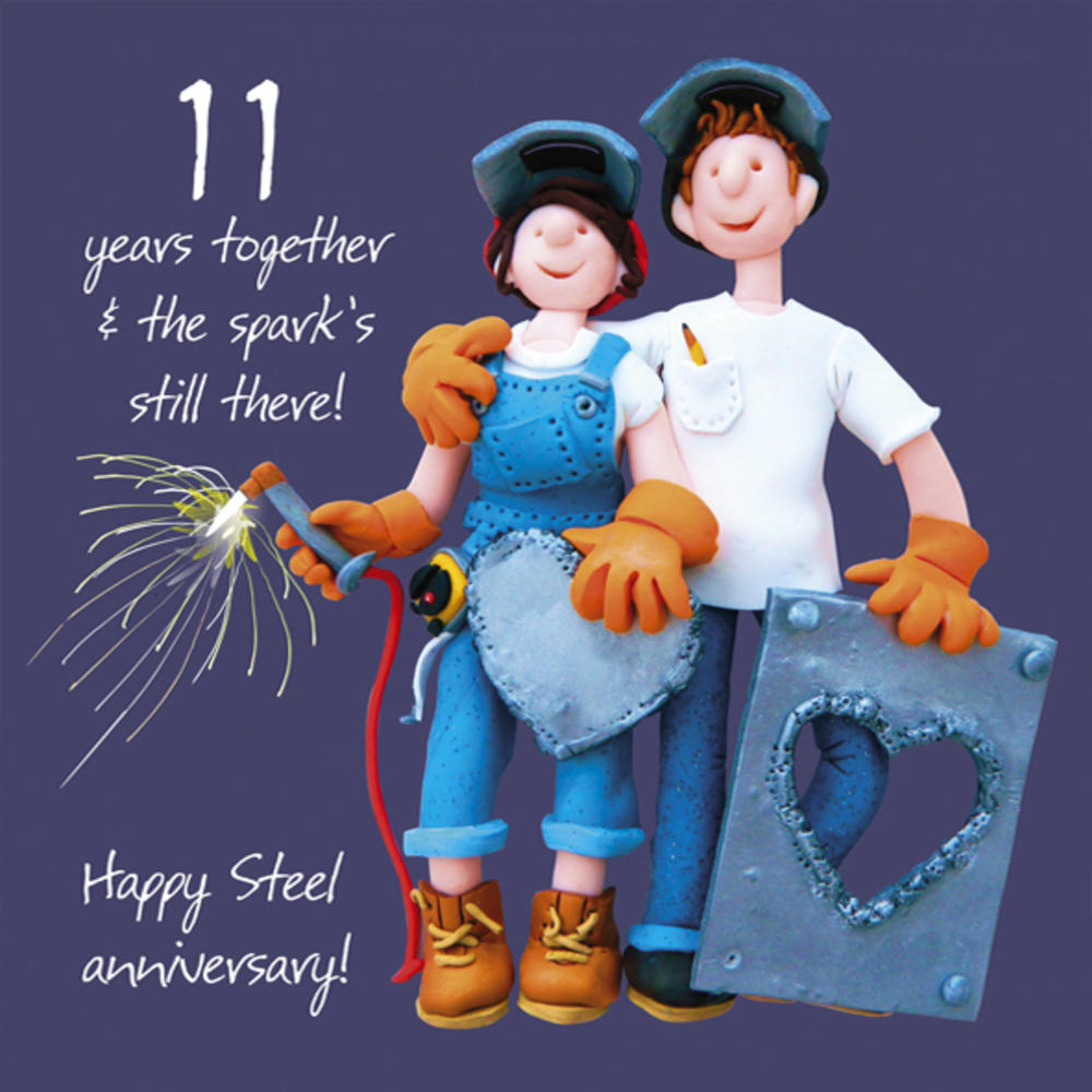Happy 11th steel anniversary greeting card one lump or two for 11th wedding anniversary gift
