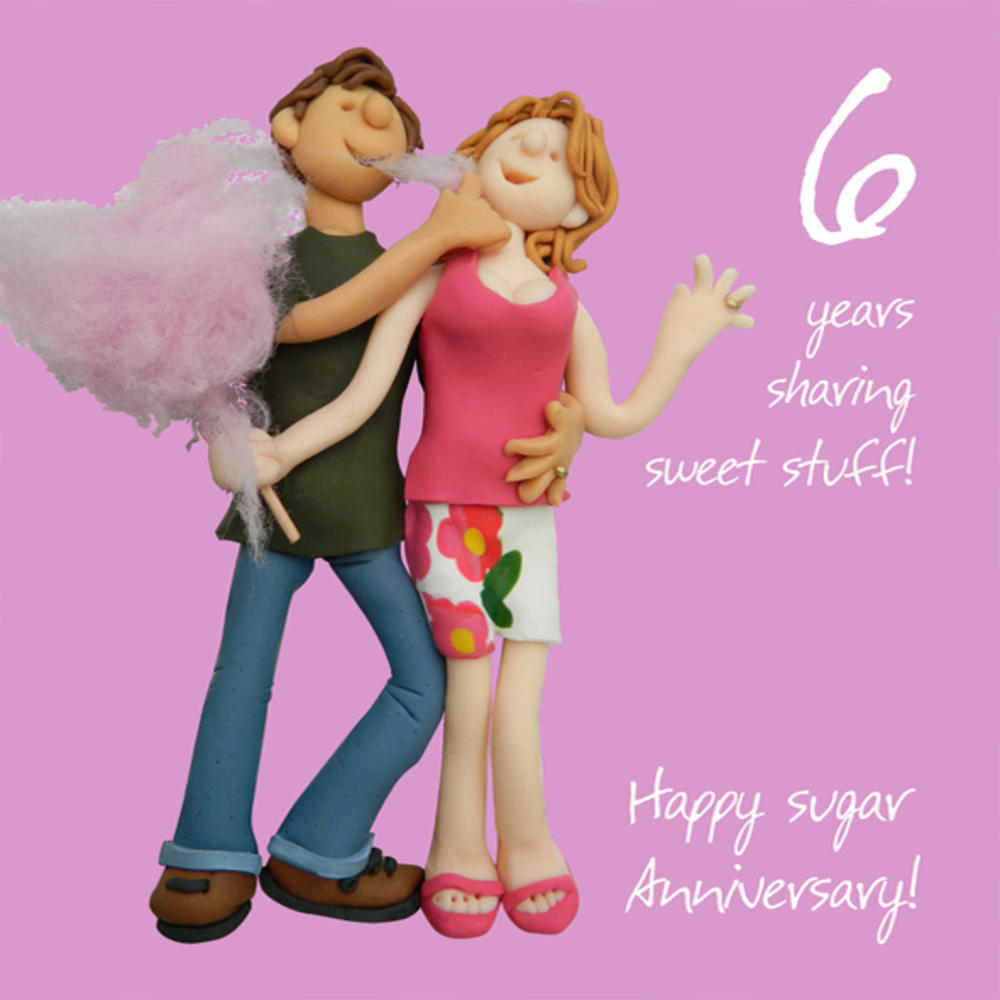 Happy 6th Sugar Anniversary Greeting Card One Lump Or Two