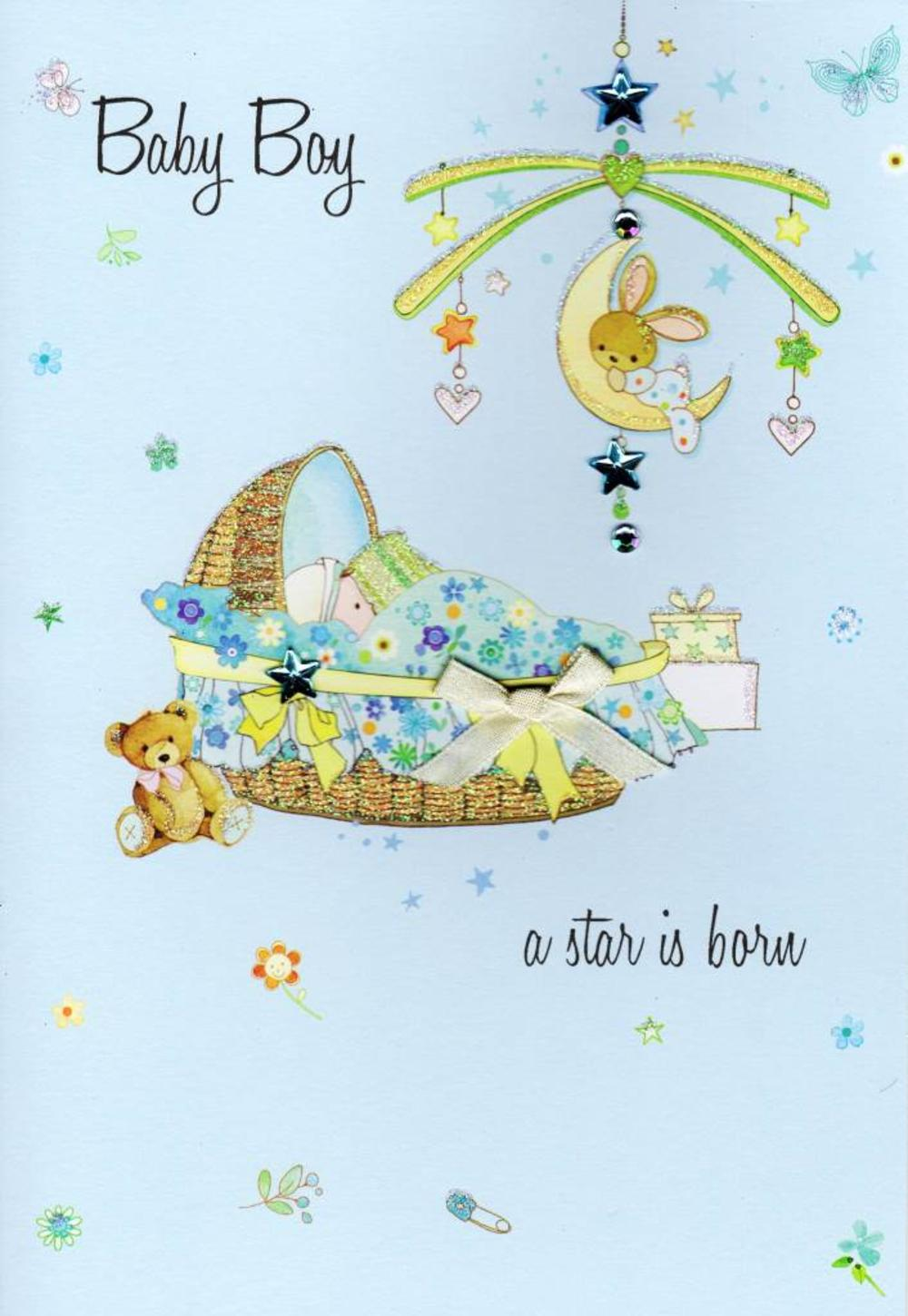 New Baby Boy Congratulations Card Water Colours By Second Nature | Cards | Love Kates