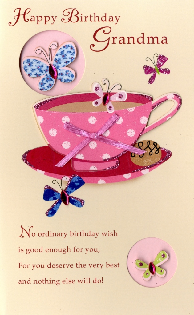 Happy Birthday Grandma Embellished Greeting Card Second Nature – Second Birthday Cards