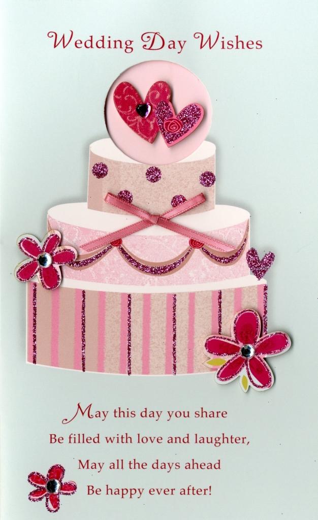 Wedding Day Wishes Embellished Greeting Card