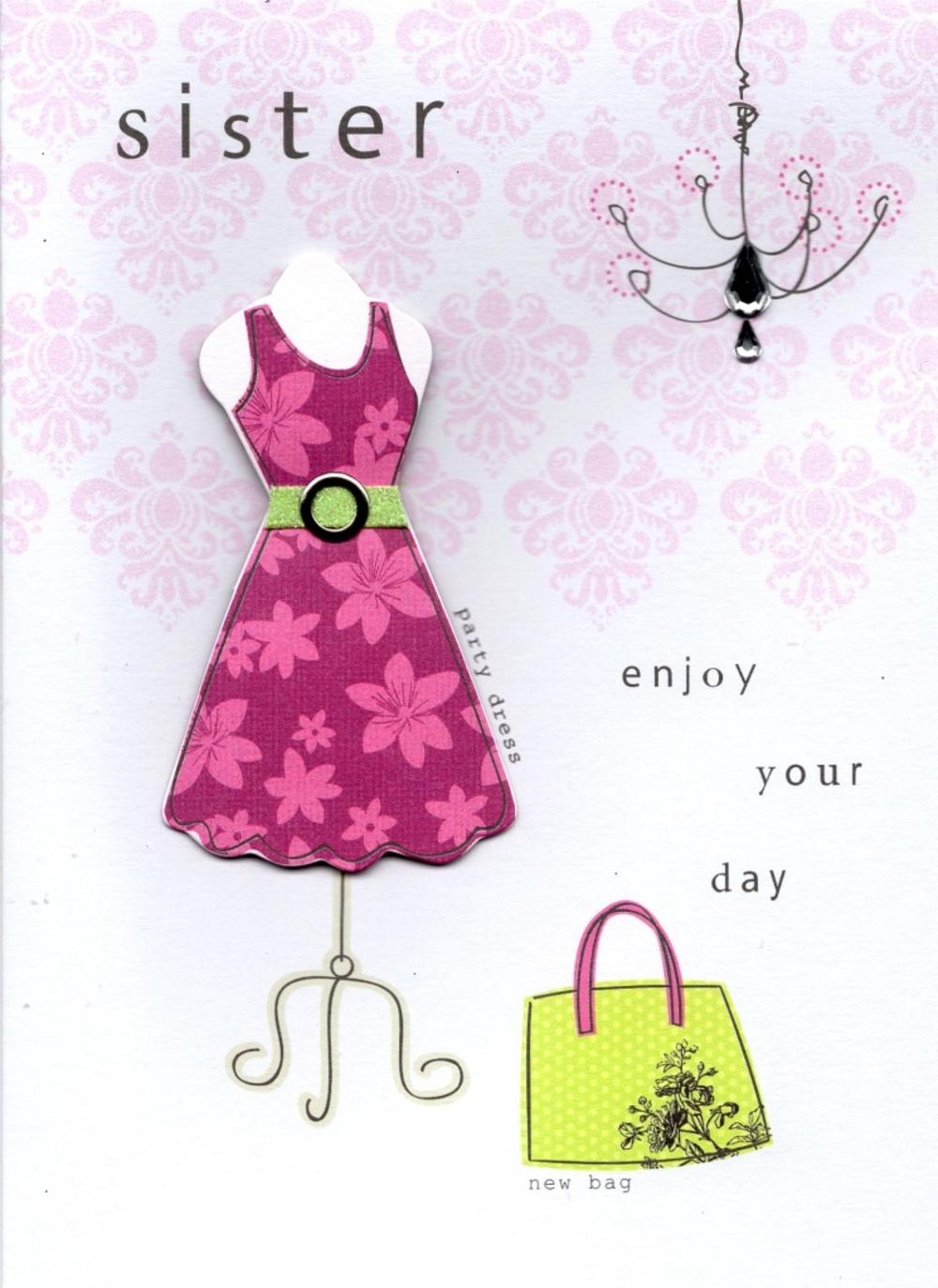sister pretty dress handmade happy birthday card  cards  love kates, Birthday card