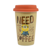 Minions Need Coffee Travel Mug with Silicone Lid