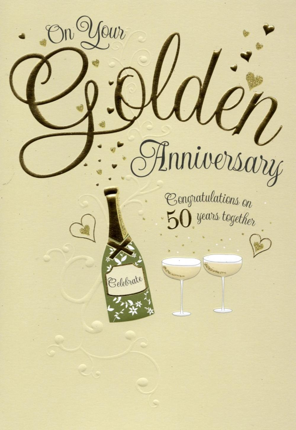 On your golden th anniversary greeting card cards