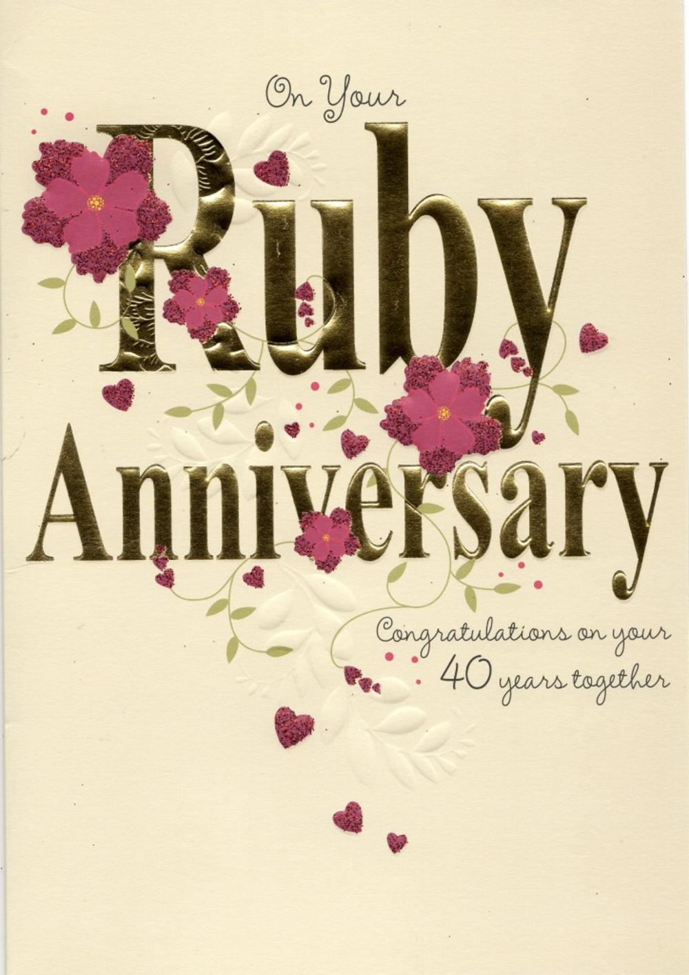 On your ruby th anniversary greeting card cards love