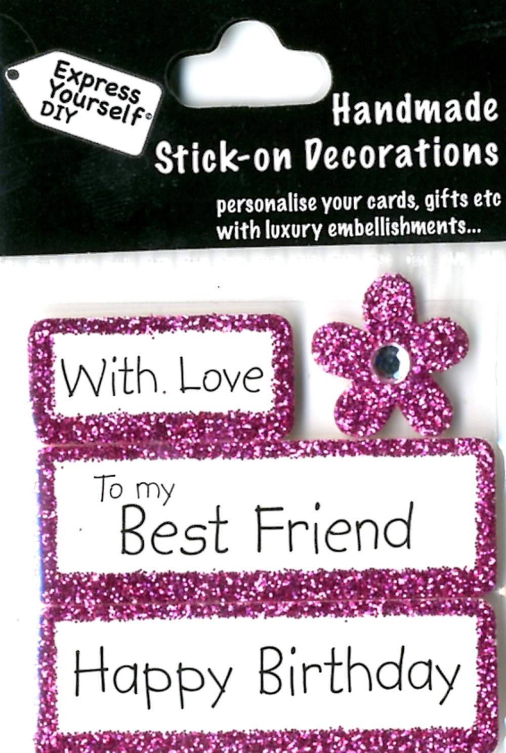 Happy Birthday Best Friend DIY Greeting Card Toppers Gift ...