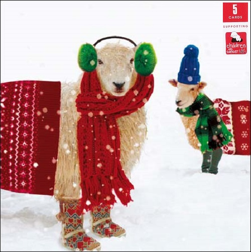 Pack Of 5 Festive Sheep Children With Cancer Charity