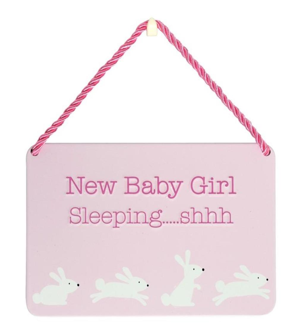 New Baby Girl Gift Ideas Uk : New baby girl sleeping tin hanging plaque gifts love kates