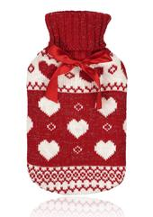 Red Fairisle Cable Knit Hot Water Bottle & Knitted Cover