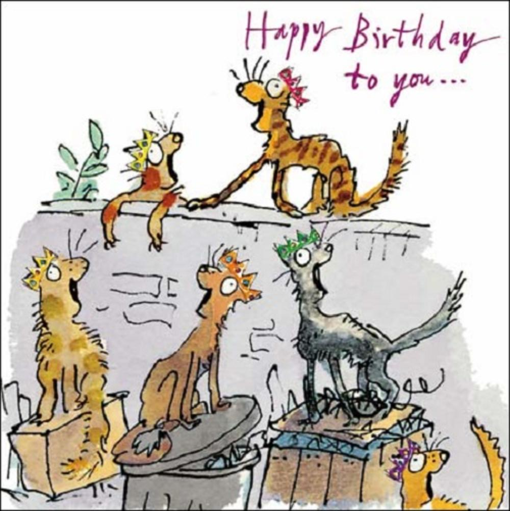 Cats Happy Birthday Quentin Blake Greeting Card
