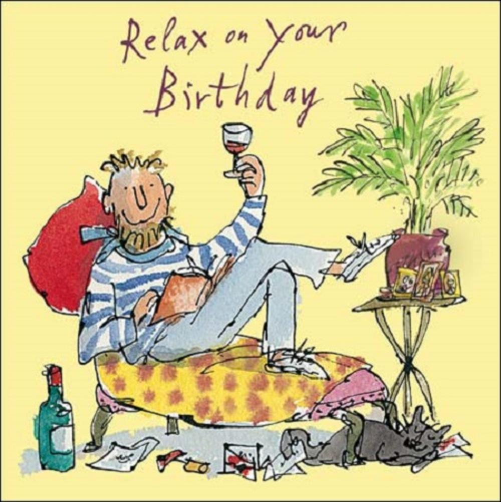 Relax On Your Birthday Yellow Quentin Blake Greeting Card