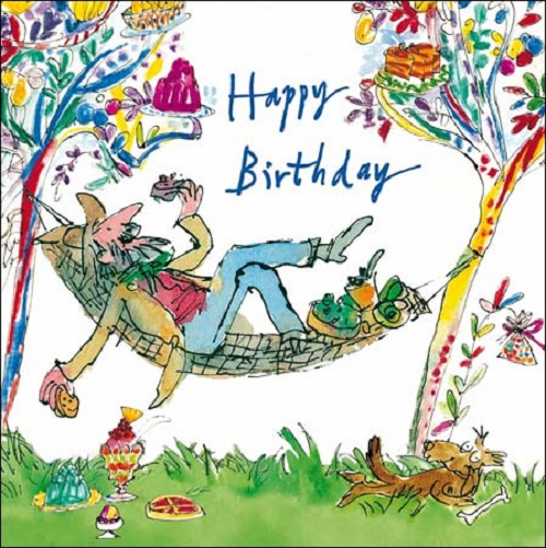 Hammock Happy Birthday Quentin Blake Greeting Card Square