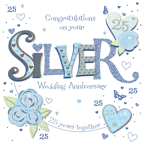 25 Best Wedding Congratulations Messages: Handmade Silver 25th Wedding Anniversary Greeting Card