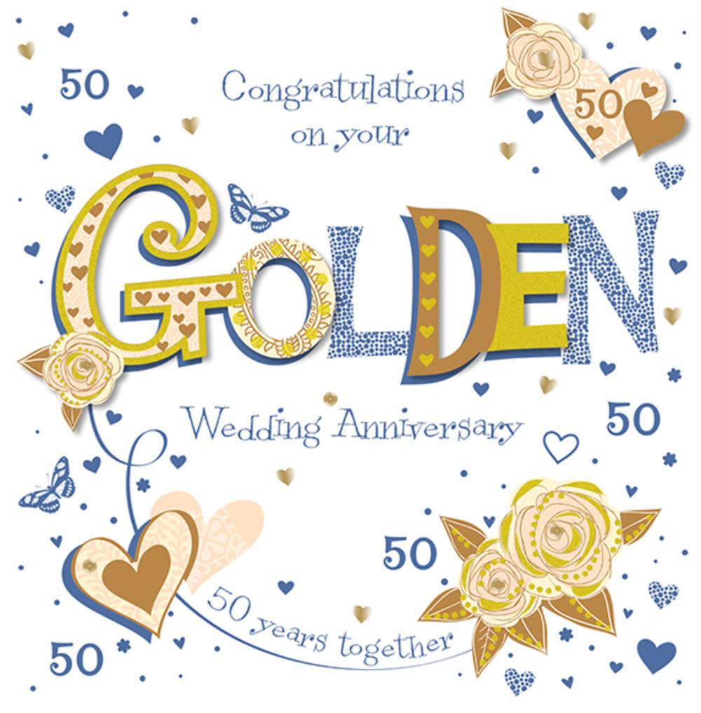 handmade golden 50th wedding anniversary greeting card