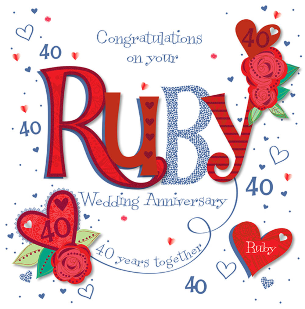 Handmade ruby th wedding anniversary greeting card