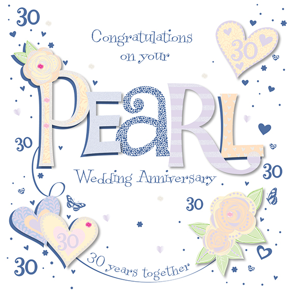 What Is The 30th Wedding Anniversary Gift: Handmade Pearl 30th Wedding Anniversary Greeting Card