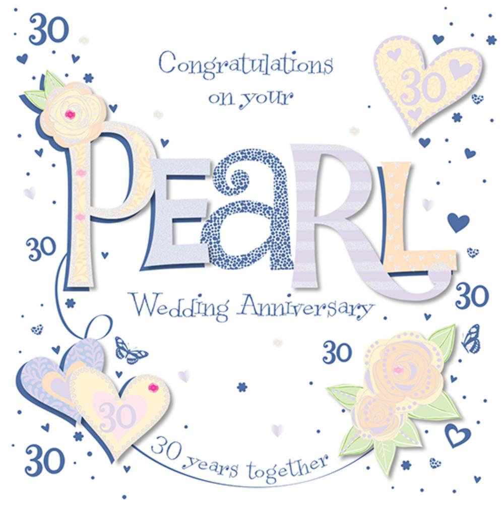 Handmade pearl th wedding anniversary greeting card