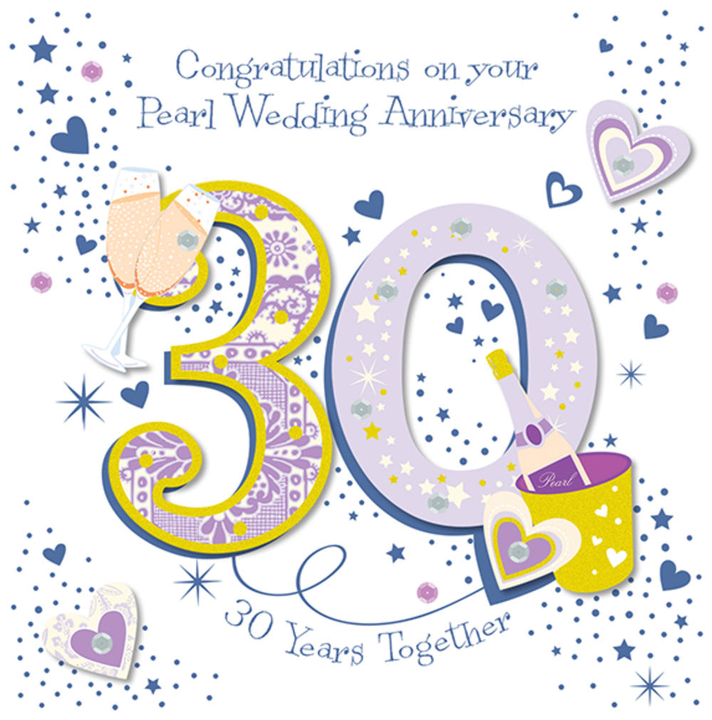 Wedding Anniversary Wishes: Handmade Pearl 30th Wedding Anniversary Greeting Card