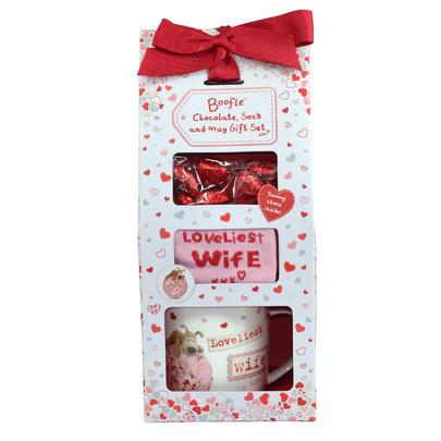 Boofle Loveliest Wife Mug Socks & Chocolates Gift Set