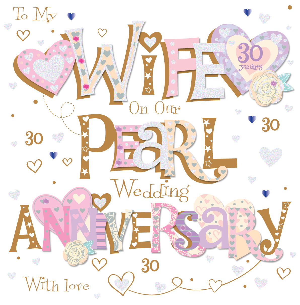 wife pearl 30th wedding anniversary greeting card cards