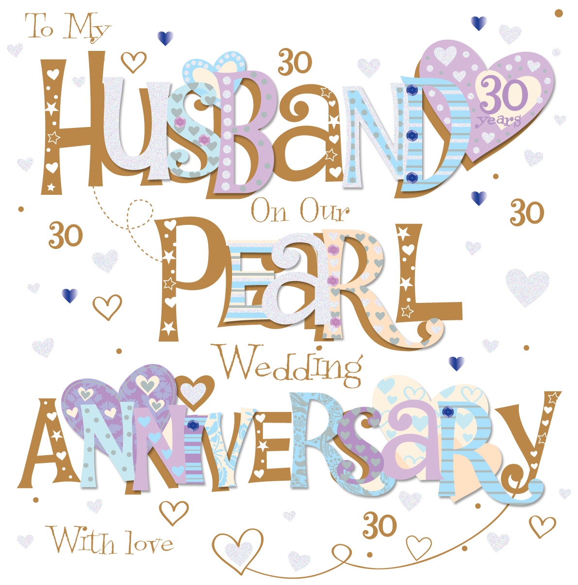 Birthday Cards For Husband Amazon Co Uk: Husband Pearl 30th Wedding Anniversary Greeting Card