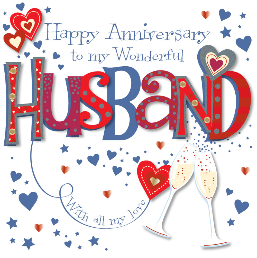 Wonderful Husband Happy Anniversary Greeting Card Cards