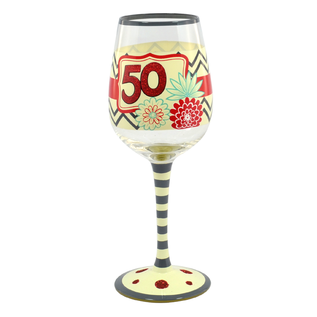 50th Birthday Off The Cuff Decorated Wine Glass In Gift