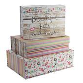 Set Of 3 Paper Salad Pretty Storage Boxes
