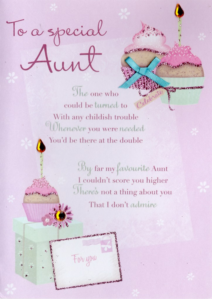 special aunt birthday greeting card second nature poetic words, Birthday card