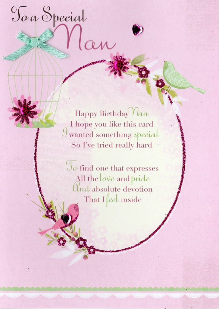 special nan birthday greeting card second nature poetic words, Birthday card
