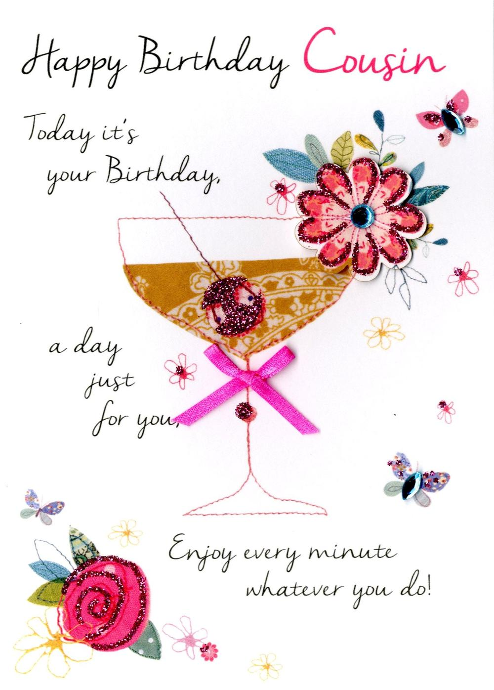 Female Cousin Happy Birthday Greeting Card Cards Love Happy Birthday Wishes Cousin