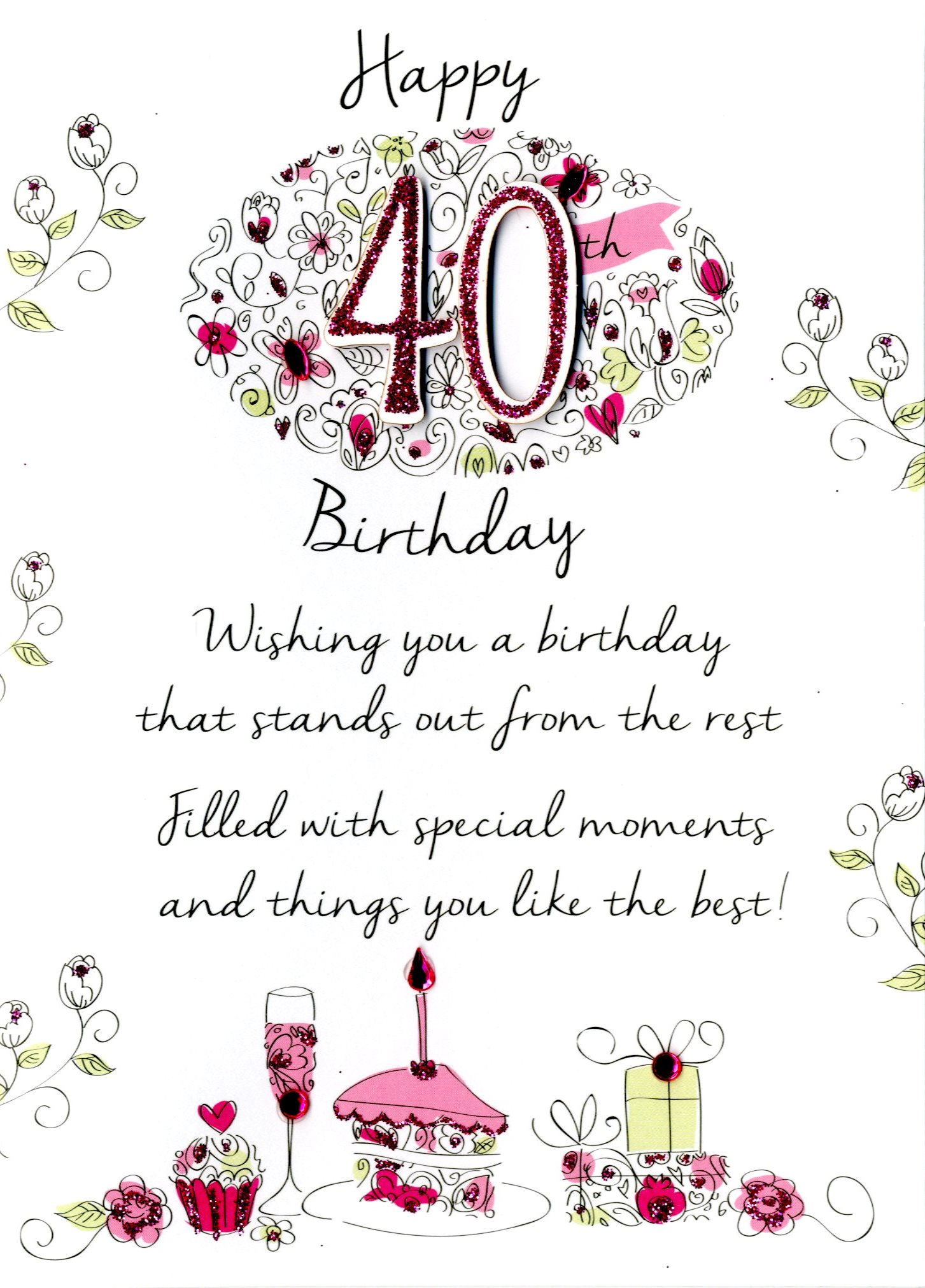 Female 40th Birthday Greeting Card Cards Love Kates