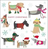 Pack of 5 Festive Dogs Samaritans Charity Christmas Cards