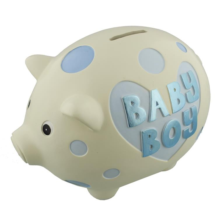 Baby boy resin piggy bank by wendy jones blackett gifts love kates - Resin piggy banks ...