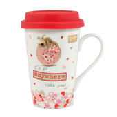 Boofle Travel Mug With Red Silicone Lid & Handle