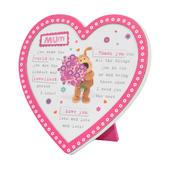Boofle Wooden Heart Shaped Mum Poem Plaque