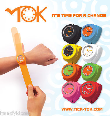 OFFICIAL TICK TOK SLAP BANDZ WATCHES ' TINY ' Snap on Wrist Band Watch 8 Colours