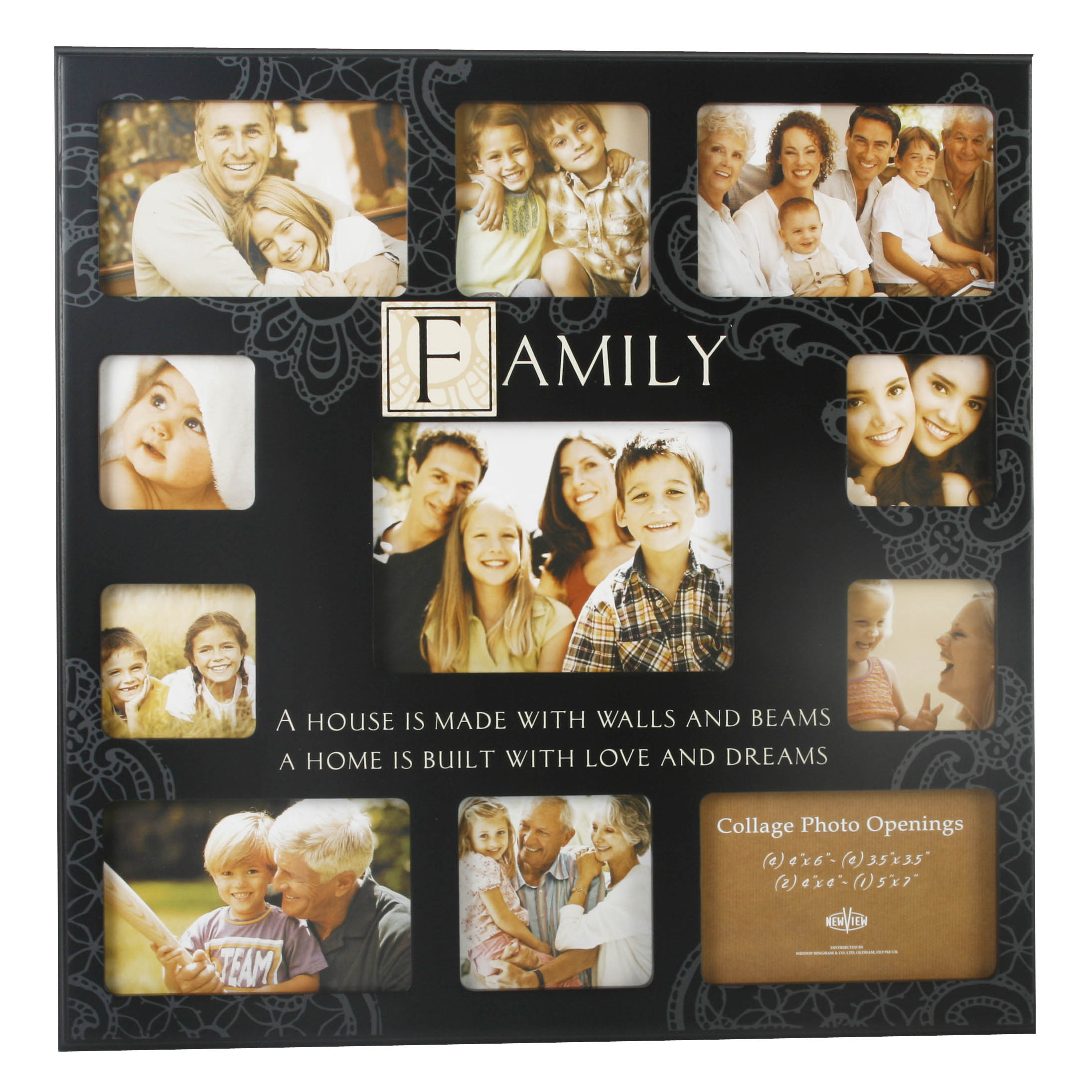 Family Very Large Black Mdf Collage Multi Photo Frame 11 X