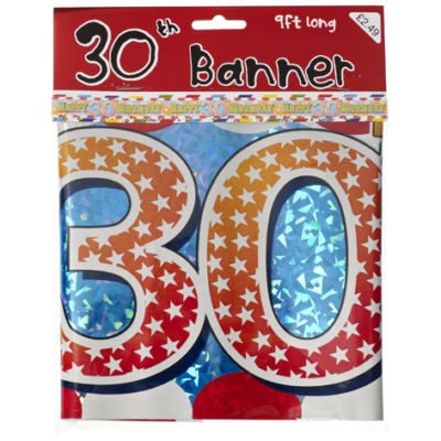 9FT FOIL PARTY BANNER OR CUT TO 3 X 3FT - 30TH BIRTHDAY